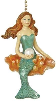 Coastal Mermaid Siren of the Sea Ceiling Fan Light Pull Chain