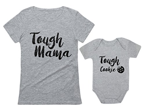 Tough Mama Tough Cookie Mother & Son/Daughter Matching Set Mom & Baby Shirts Mom Gray Small/Baby Gray 18M (12-18M)