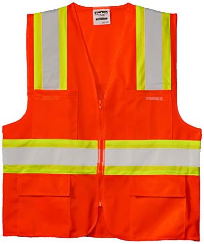 Surtek 137496 Chaleco de Seguridad Alta Visibilidad con Cierre Y Bolsa, color Naranja, Unitalla