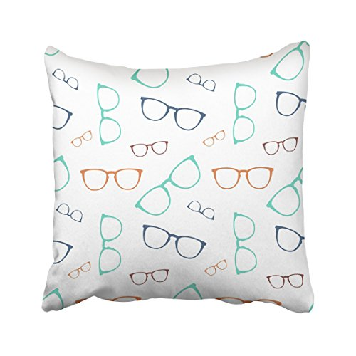 Emvency White Eye Colorful Glasses Eyeglasses Specs Collection Cool Elegance Graphic Hipster Throw Pillow Cover Covers 16x16 Inch Decorative Pillowcase Cases Case Two Side ()