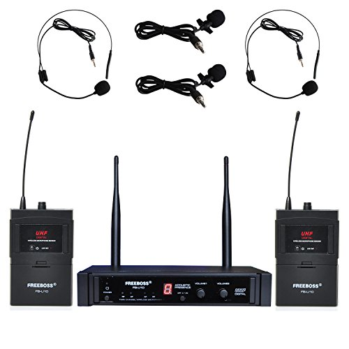 System Lapel Mic (Freeboss FB-U10 Digital Uhf Wireless Microphone System Dj Karaoke 2 Lapel and 2 Headset Microphone (2 Bodypack Transmitter))