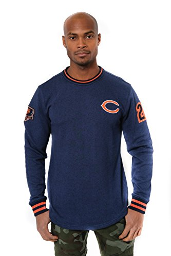 NFL Men's Chicago Bears Fleece Sweatshirt Long Sleeve Pullover Rib Stripe, Large, Blue (Sweatshirt Bears Fleece)