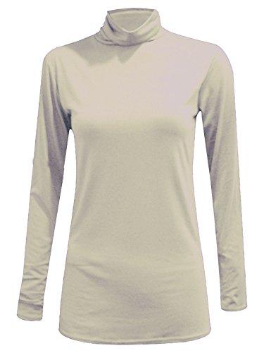 Lunghe A Collo Donne Polo Da Alto Cream Donna Elasticizzato Maniche A 14 Nuovo Tinta Unita Maglione 8 pCqY5xEwdv