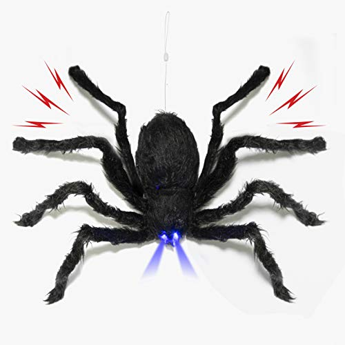 Halloween Mechanical Spider (Prextex Animated Dropping Huge Black Hairy Spider/Tarantula with LED Eyes for Halloween Haunt Décor Best Halloween)