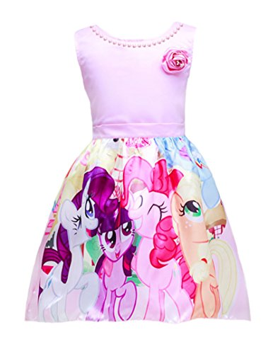 Sidney Little Girl's My Little Pony Sleeveless Princess Birthday Party Dress (5/6y, (My Little Pony Dresses)