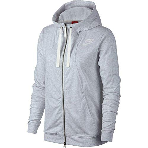 NIKE Womens Gym Classic Full Zip Hooded Sweatshirt Birch Heather/Sail 924081-051 Size Medium