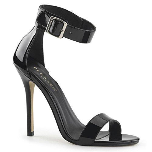 Pleaser Amuse-10 sexy High Heels Riemchen Sandaletten Lack Schwarz 35-45 Übergröße