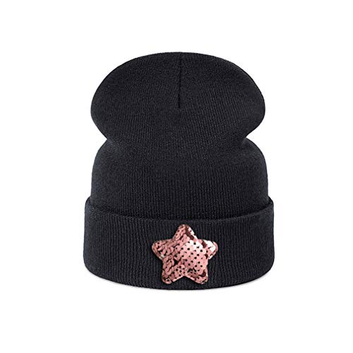 New DIY Baby Hat Skullies Beanies for Children Black Pink Star