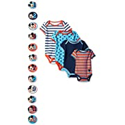 Disney Baby-Boys Grow with Me Bodysuits with 12 Monthly Mickey Stickers, Blue, Newborn-12 Months (Pack of 4)
