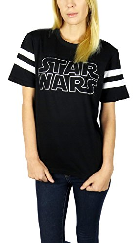 Star Wars Womens Logo Varsity Football Tee Empire Black - Womens Shirt Tee Football