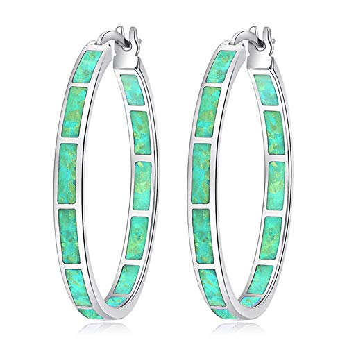 CiNily Opal Hoop Earrings for Women,Green Opal Rhodium Plated Gemstone Big Hoop Earrings 32mm