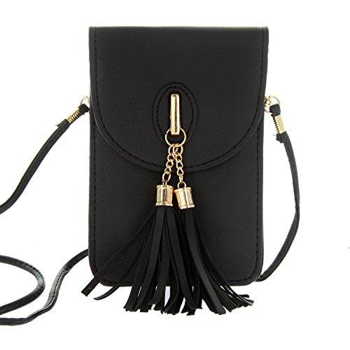 Women's Small Tassel Crossbody Wallet Clutch Bag with Touch Screen Window Back (Sophia Window)