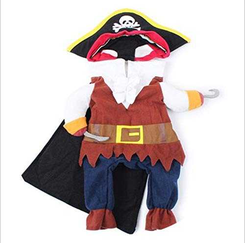 Pet Clothes Cosplay Pirate Dogs Cat Halloween Cute Costume Clothing Comfort for Small Medium Dog 2019,As Shown,M,Russian Federation -