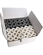 144 Black & White PreWound Bobbins for Embroidery Machines Size A (SA156) Plastic Sided Good for Brother, Babylock, Janome Embroidery Machines etc