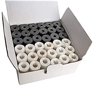 HimaPro 144 PreWound Bobbins for Embroidery Machines Class 15 Size A (SA156) Plastic Sided 60 WT (Black&White)
