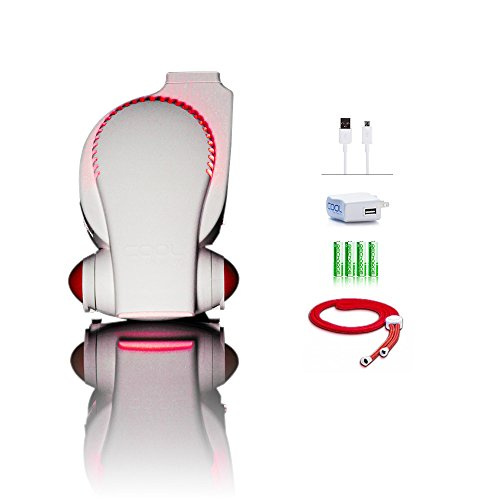 Next Generation Rechargeable Fan with LED Lights ECO Friendly Mini USB Fan / Stroller Fan / Infant Seat Fan / Desk Fan / Necklace Fan / Hands Free Personal Air Cooling System (color may vary) by Cool on the Go
