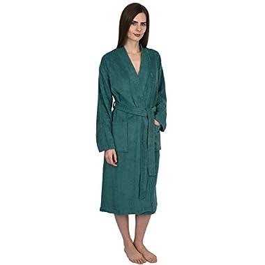 TowelSelections Turkish Cotton Bathrobe Terry Kimono Robe Medium/Large Deep Sea