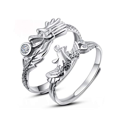 TIDOO Jewelry Couples His and Hers Dragon and Phoenix Chinese Style Wedding Ring Set