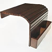 Sofa Arm Tray - Flexible Portable Coach Table - With Remote Control Box - Dark Brown - Wood