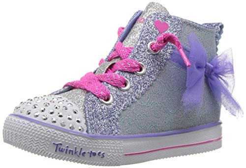 Heart Skechers Girls - Skechers Kids Girls' Shuffle LITE-Harmony Hearts Sneaker, Light Blue/Lavender, 7 Medium US Toddler