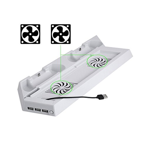 OSTENT Multifunctional Hub USB Cooling Fan Charger Stand Compatible for PS4 Console and Controller - Color White (Usb Charger Hub White)