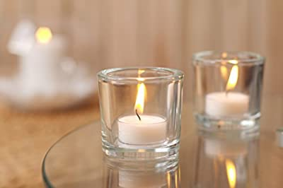 """Hosley's Set of 6 Heavy Clear Chunky Glass LED Tea Light, Votive Candle Holders - 2.4"""" High. Ideal GIFT for Weddings, Parties, Spa, Aromatherapy, Bridal Setting, Reiki, Meditation, Bulk Buy O9"""
