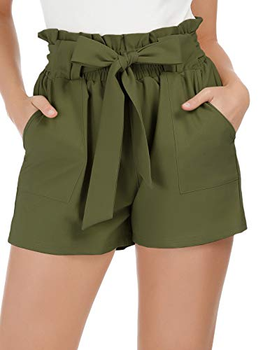 Women's Simple Solid Ruffle Tie Waist Shorts XXL Army Green