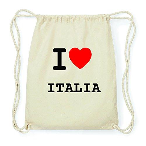 JOllify ITALIA Hipster Turnbeutel Tasche Rucksack aus Baumwolle - Farbe: natur Design: I love- Ich liebe pwkKN1e