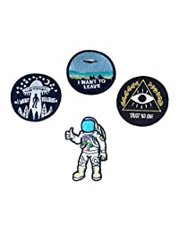 Sumen I Want to Leave UFO Patches Astronaut Patch Trust No One Patch Embroidered