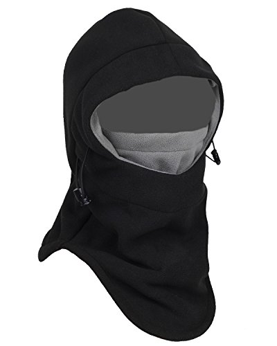 (Tahbilk Balaclava Fleece Hood,Heavyweight Cold Weather Winter Motorcycle,Windproof Ski Mask,Ski&Snowboard Gear(Black/Grey))