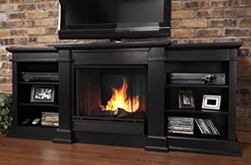 real flame fresno 72 inch console with gel fuel fireplace g1200 b - Gel Fuel Fireplace