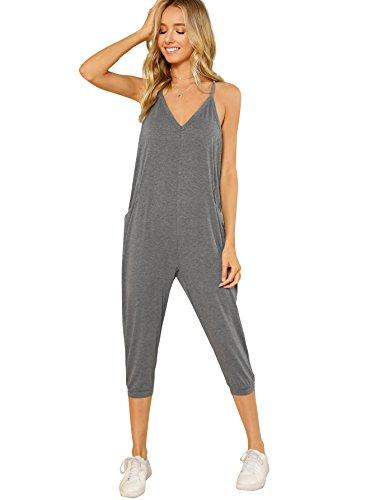 Capri Jumpsuit - DIDK Women's V Neck Spaghetti Strap Harem Leg Cami Jumpsuit Grey S