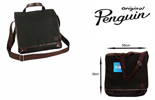 Original Penguin Borsa Messenger con 2scomparti e completamente foderato nero/marrone consegna gratuita nel Regno Unito
