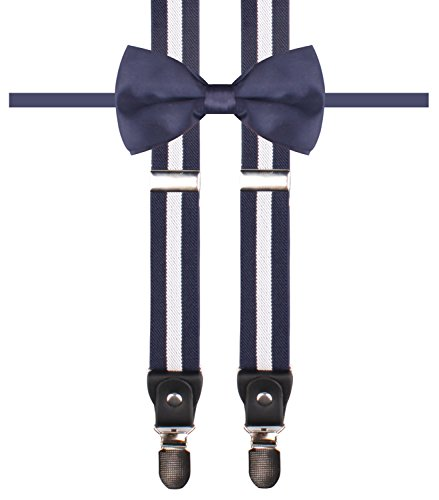 DIDKU Navy blue suspenders Suspender stripes mens bowtie combo Navy White Stripe (Great Gatsby Costumes For Men)
