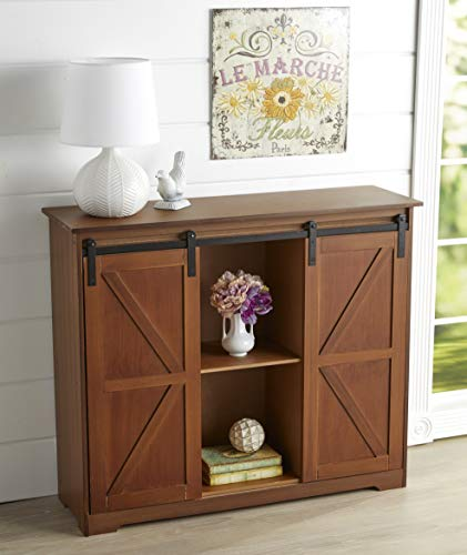 Farmhouse Buffet Sideboards The Lakeside Collection Distressed Sideboard Buffet Cabinet with Sliding Rail Barn Doors – Brown farmhouse buffet sideboards