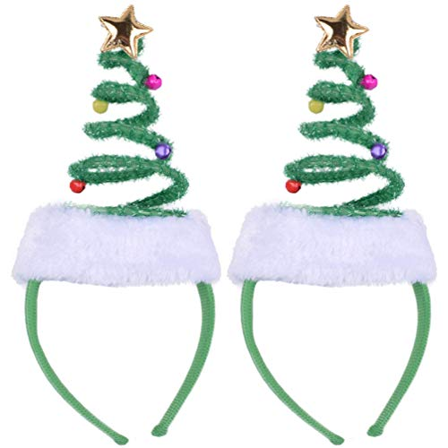ADJOY Christmas Tree Headband for Girls Boys Baby Women Men Aults Christmas Concert Party - One Size Fits Most (2PCS Pack)