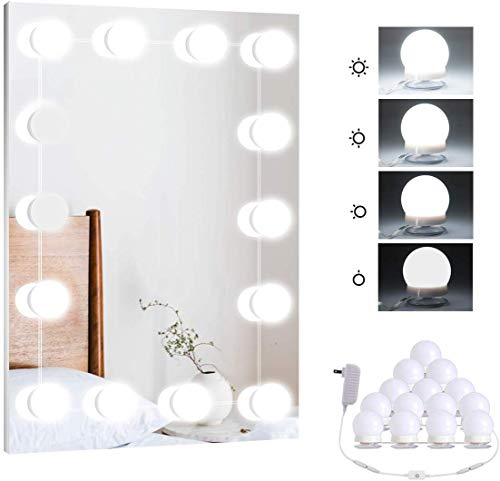 Hollywood Vanity Mirror Lights Kit with 14 LED Light Bulbs for Makeup, Dimmable Mirror Stick On Lights for Room…