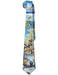 Men's Sea Turtle Tropical Fish Vintage Neck Tie Skinny Ties
