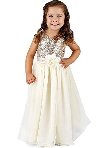Girls Flower Girl Dresses Clearance (Bowdream Flower Girl's Dress Gold Sequins Ivory 6)