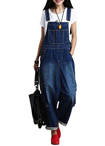 Women's Cotton Denim Bib Overalls Jumpsuits Loose Pants (...