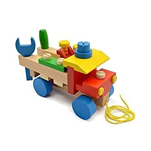 Wooden Pull Along Truck - Work Bench with Tools (Handmade in Europe) Montessori Construction Toy