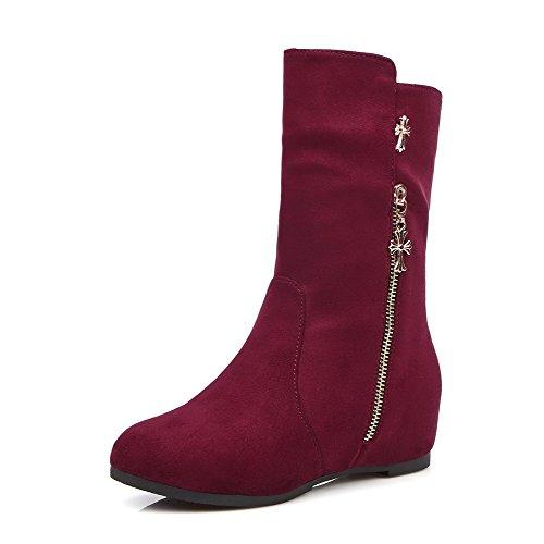 AgooLar Damen Rein Blend-Materialien Niedriger Absatz Ziehen auf Rund Zehe Stiefel Braun