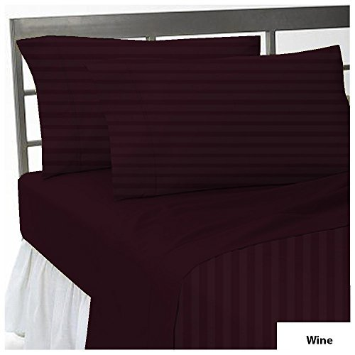 100% Egyptian Cotton 650 Thread Count USA Bedding Sheet Set 22 inches Extra Deep Pocket 6 Piece Bedding Sheet Set Striped Size Queen Color Wine