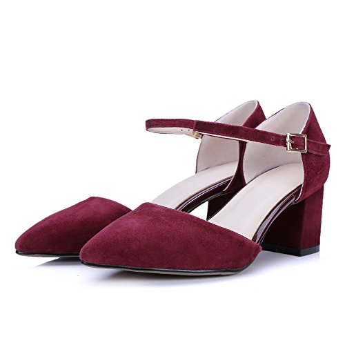 AgooLar Women's Kitten Heels Frosted Solid Buckle Pointed Closed Toe Sandals Claret NEtBN