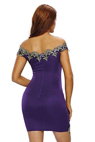 Nuevo Plus Size morado y oro encaje Bodycon Mini vestido Club Wear tarde vestidos de para fiesta tamaño XL UK 14UE 42