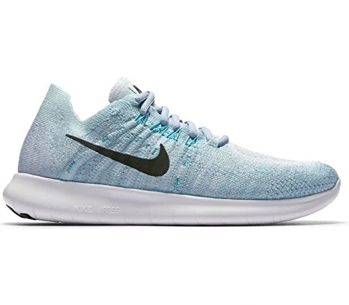 Nike Women's Free RN Flyknit 2017 Running Shoe BLUE TINT/BLACK-CIRRUS BLUE-AURORA GREEN - Tints Blue Of
