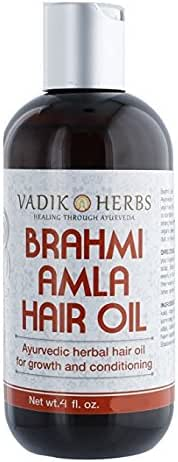 Brahmi-Amla Hair Oil (4oz) by Vadik Herbs | Promotes excellent hair growth and hair conditioning | all natural herbal solution for hair loss, thinning hair, balding | Great as a beard oil as well