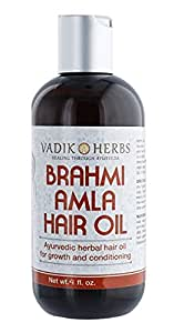 Brahmi-Amla Hair Oil (4oz.) - Promotes excellent hair growth and hair conditioning | all natural herbal solution for hair loss, thinning hair, balding | Great as a beard oil as well