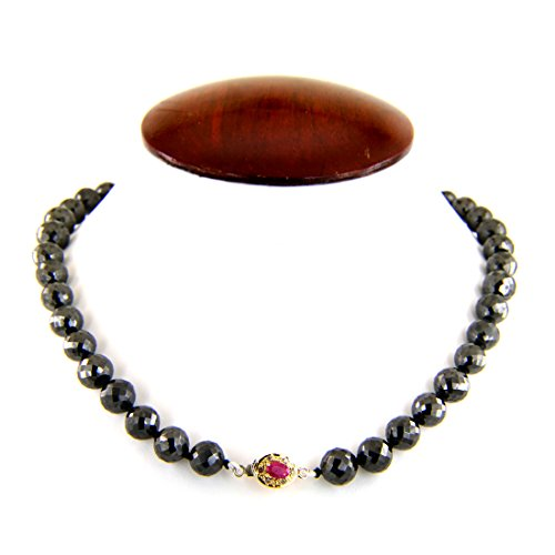 Barishh 8mm Black Diamond Faceted Beads Necklace 275 cts AAA Quality .Earth mined.certified Excellent Luster by Barishh