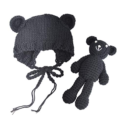 ECYC Baby Bear Hat Doll Set Newborn Crochet Beanie Caps Photography Props, Black